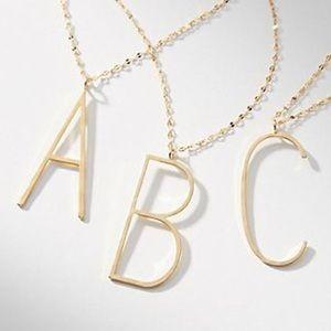 Anthropologie Gold Pendant Letter C Necklace